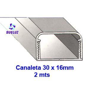 Canaleta PVC Adhesiva 30 x 16mm (2mts) Blanco -