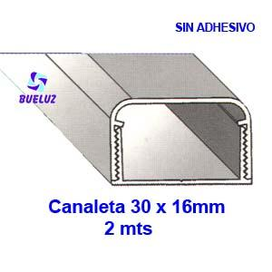 Canaleta PVC sin adhesivo 30 x 16mm (2mts) Blanco