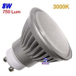 Dicroica Led GU-10 8W 3000K 120º Aluminio -