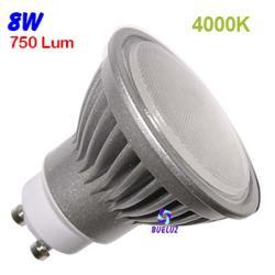 Dicroica Led GU-10 8W 4000K 120º Aluminio -