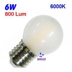 ESFERICA MATE FILAMENTO LED 6W E-27 6000K