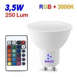 DICROICA LED GU-10 3,5W RGB MULTICOLOR + 3000K