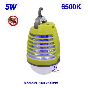 Lampara Matamosquitos 5W con luz LED Recargable