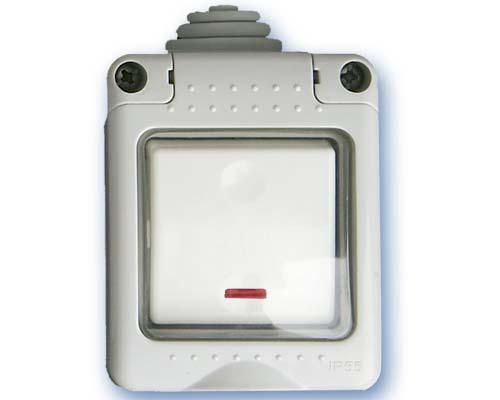 Pulsador Estanco con piloto IP55 Tapa Silicona -