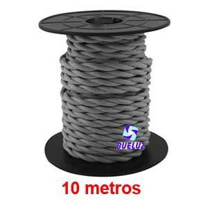 Cable Trenzado 2 x 0,75 Gris 10 metros