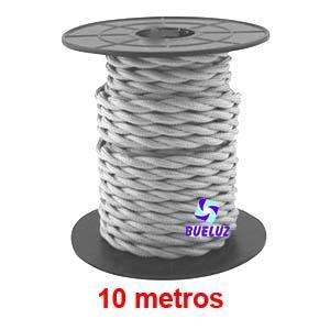 Cable Trenzado 2 x 0,75 Gris claro 10 metros