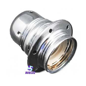 Portalamparas metalico E-27 cromado C/Arandela -