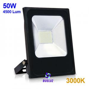 Proyector LED plano 50W 3000K Negro -