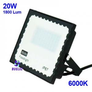 PROYECTOR LED 20W PLANO 6000K NEGRO