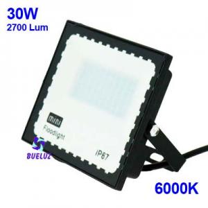 PROYECTOR LED 30W PLANO 6000K NEGRO