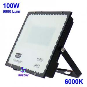 PROYECTOR LED 100W PLANO 6000K NEGRO