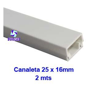 Canaleta PVC adhesiva 25 x 16mm (2mts) Blanco