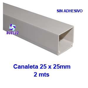 Canaleta PVCsin adhesivo 25 x 25mm (2mts) Blanco -