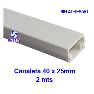 Canaleta PVCsin adhesivo 40 x 25mm (2mts) Blanco -