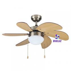Ventilador Techo 6 aspas color Haya con luz
