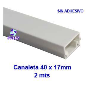 Canaleta PVCsin adhesivo 40 x 17mm (2mts) Blanco -