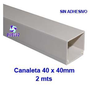 Canaleta PVCsin adhesivo 40 x 40mm (2mts) Blanco -