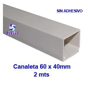 Canaleta PVCsin adhesivo 60 x 40mm (2mts) Blanco -