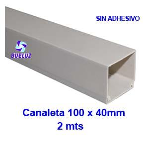 Canaleta PVCsin adhesivo 100 x 40mm (2mts) Blanco -