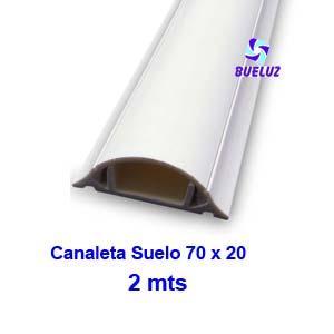 Canaleta PVC Suelo Adhesiva 70 x 20mm (2mts) Blanco -