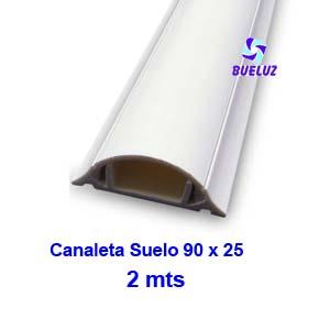 Canaleta PVC Suelo Adhesiva 90 x 25mm (2mts) Blanco