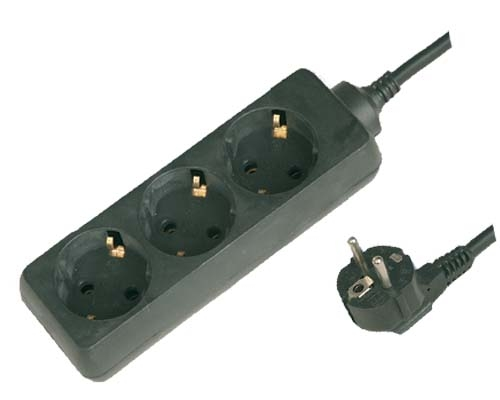 Base Multiple 3-T  T/T  (1,5 metros) - Base multiple 3-Tomas Manguera 3 x 1,5mm sin interruptor, maximo 3500 watios 10/16 Amp 250V. Con proteccion para niños 1,5 metros de cable